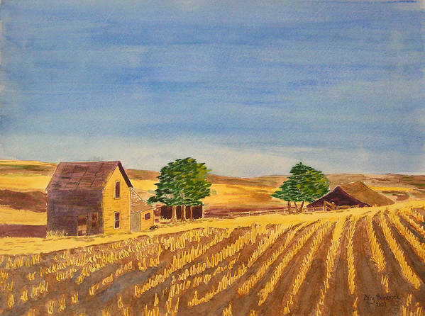 Farm Poster featuring the painting Summer Farm by Ally Benbrook