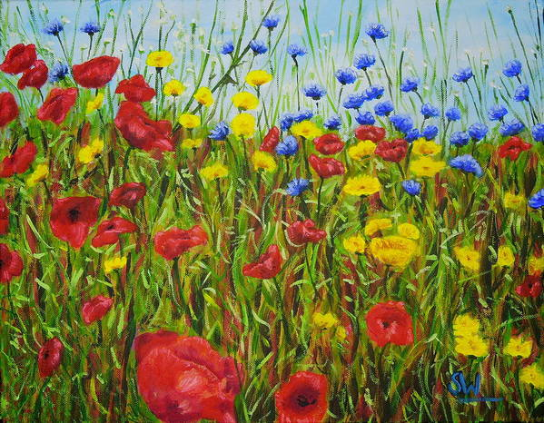Art Poster featuring the painting Summer Flowers by Shirley Wellstead