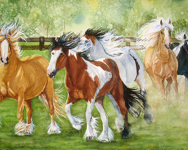 Horse Poster featuring the painting Summer Frolic by Gina Hall