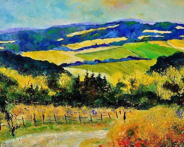 Landscape Poster featuring the painting Summer Landscape by Pol Ledent
