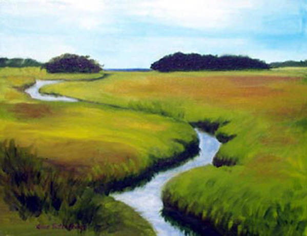 Landscape Poster featuring the print Summer Marsh by Anne Trotter Hodge