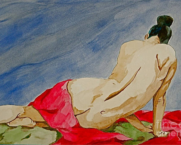 Nudes Red Cloth Poster featuring the painting Summer Morning 2 by Herschel Fall