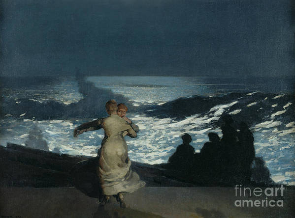 Winslow Homer Poster featuring the painting Summer Night by Winslow Homer