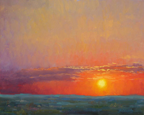 Sunset Poster featuring the painting Summer Of The Red Sky by Bunny Oliver