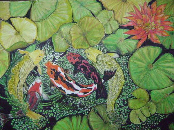 Fish Pond Poster featuring the painting Summer Pond At Lunchtime by Laura Johnson