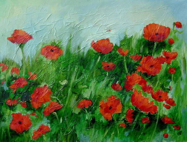 Red Poppies Poster featuring the painting Summer Poppies by Ginger Concepcion