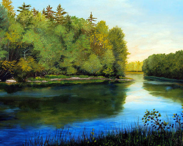 Maine Poster featuring the painting Summer River by Laura Tasheiko