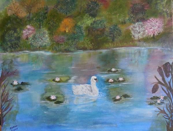 Scenes Poster featuring the painting Summer Swan by Karen Lipek