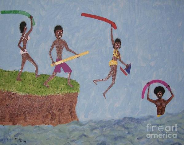Swimming Poster featuring the painting Summer Time Fun by Gregory Davis