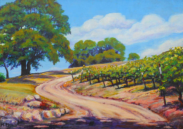 Vineyards Poster featuring the painting Summer Walk by Margaret Plumb
