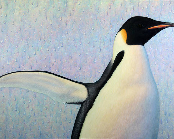 Penguin Poster featuring the painting Summertime by James W Johnson