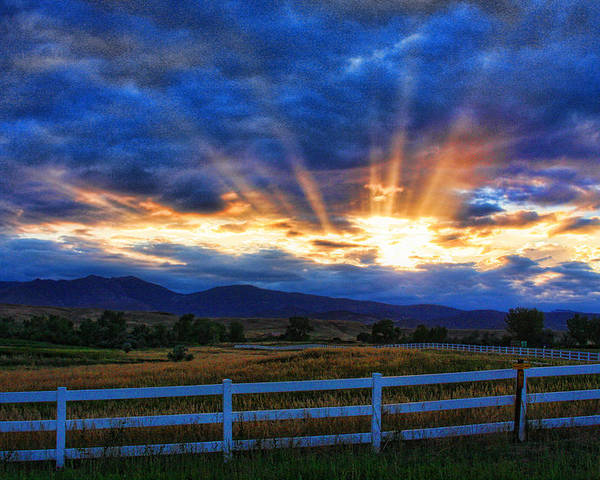 Sunset Poster featuring the photograph Sun Beams In The Sky At Sunset by James BO Insogna