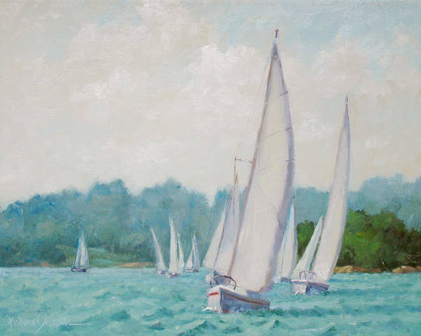 Sail Boats Poster featuring the painting Sun Cruisers by L Diane Johnson