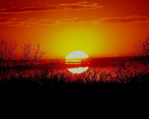 Sun Poster featuring the photograph Sun Down by Karen Scovill