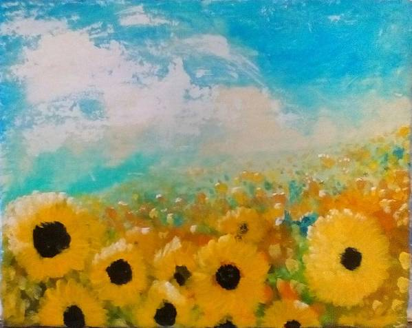 Flowers Poster featuring the painting Sun flower by J Bauer