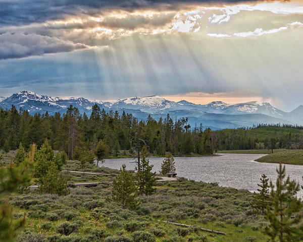 Horizontal Poster featuring the photograph Sun Rays Filtering Through Clouds by Trina Dopp Photography