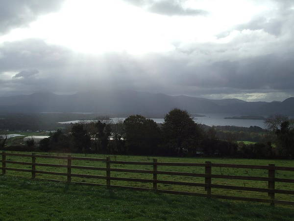 Sun Rays Poster featuring the photograph Sun Rays Over Irish Landscape by Gabrielle Pierce