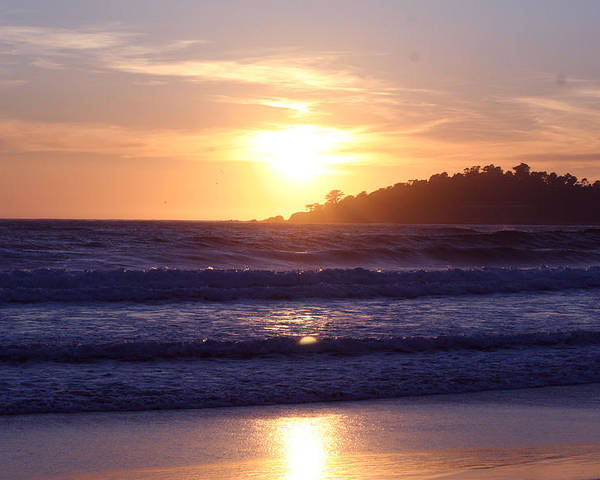 Sun Set Poster featuring the photograph Sun set in Carmel by Ofelia Arreola