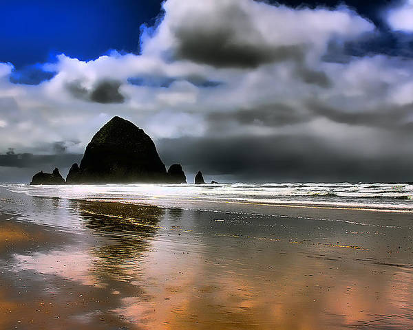 Cannon Beach Poster featuring the photograph Sun Shining On Haystack Rock by David Patterson