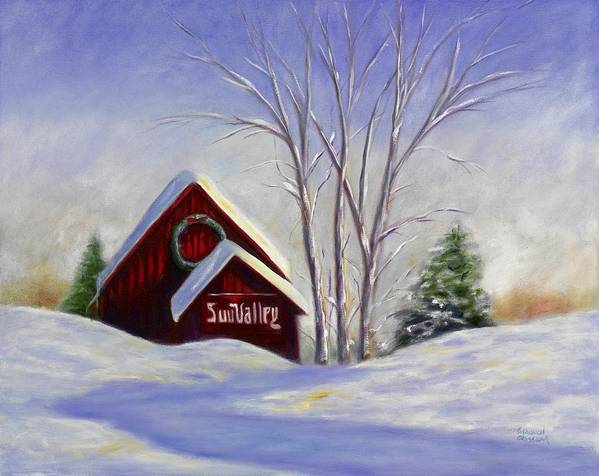 Landscape White Poster featuring the painting Sun Valley 1 by Shannon Grissom