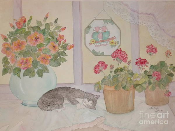 Potted Flowers/geraniums Poster featuring the painting Suncatchers by Patti Lennox
