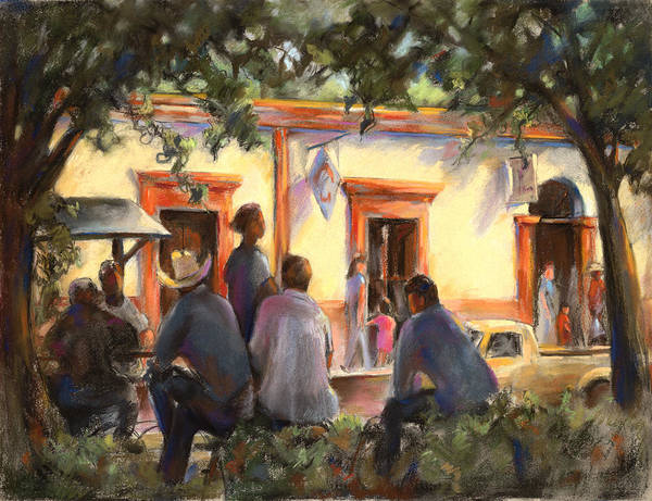 Alamos Poster featuring the pastel Sunday At The Alameda by Joan Jones