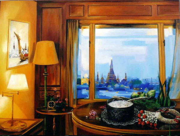 Thai Poster featuring the painting Sunday Morning by Chonkhet Phanwichien