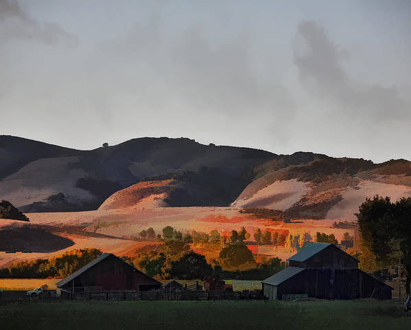 Barns Poster featuring the digital art Sundown At The Ranch by Patricia Stalter