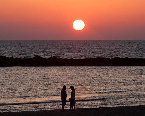 Israel Poster featuring the photograph Sundown On Tel Aviv Beach by Paco Feria