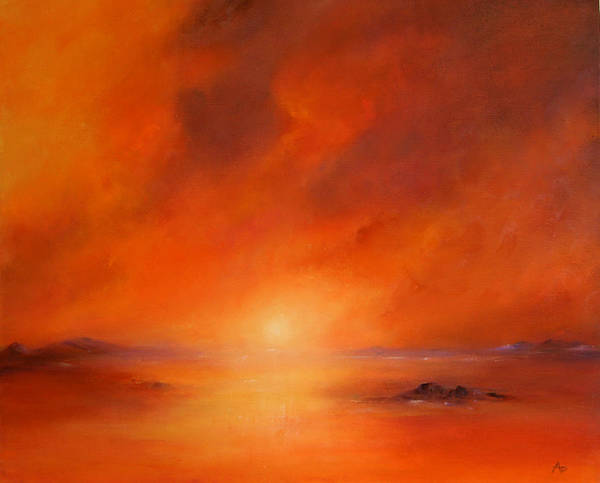 Nature Poster featuring the painting Sundown by Petra Ackermann