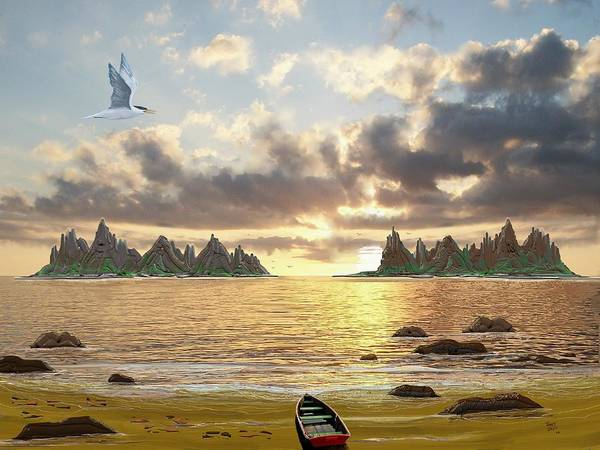 Seascape Poster featuring the digital art Sundown Seascape by Tony Rodriguez