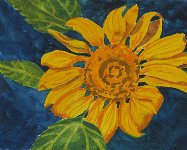Sunflower Poster featuring the painting Sunflower - Mini by Libby Cagle