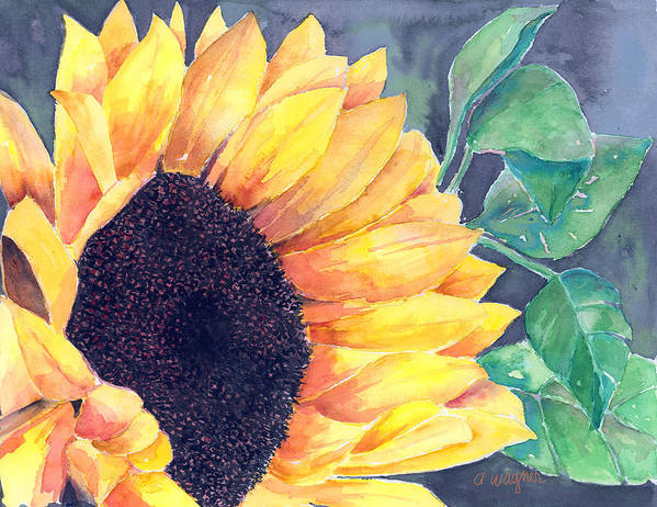 Sunflower Poster featuring the painting Sunflower by Arline Wagner