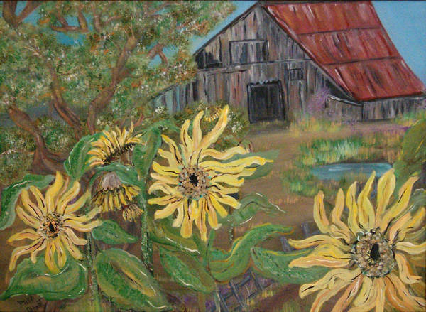 Farm House Poster featuring the painting Sunflower Farm by Mikki Alhart