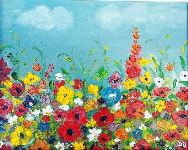 Sunflower Wonderfullandscape Beautifulview Flower Nature Bluesku Poster featuring the painting Sunflower Field by Denisa Olbojan