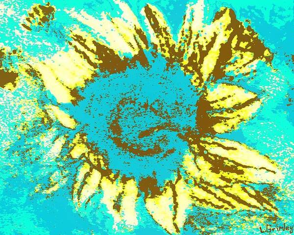 Flower Poster featuring the mixed media Sunflower by Lessandra Grimley