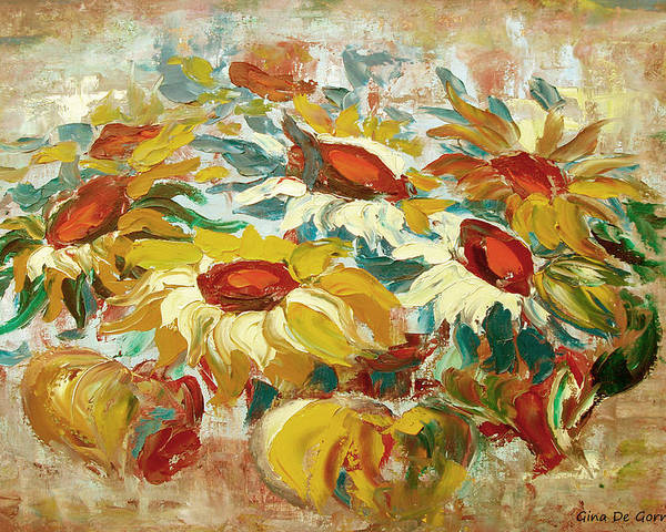 Sunflowers Poster featuring the painting Sunflowers 15 by Gina De Gorna