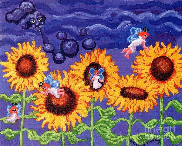 Sunflower Poster featuring the painting Sunflowers And Faeries by Genevieve Esson