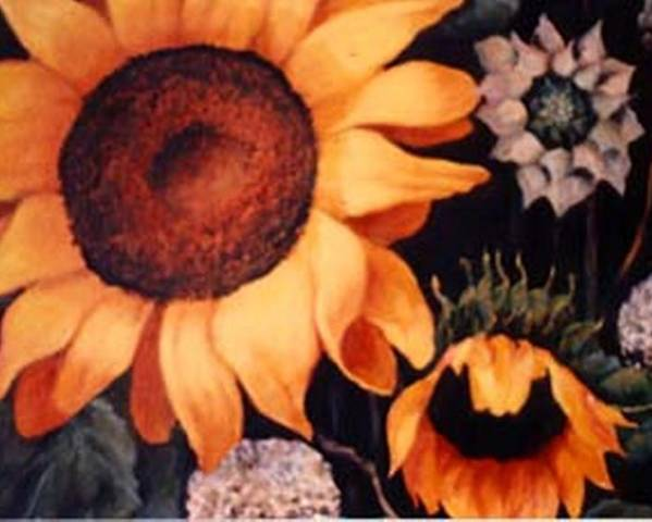 Sunflowers Paintings Poster featuring the painting Sunflowers And More Sunflowers by Jordana Sands