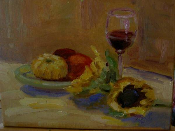Still Life Poster featuring the painting Sunflowers And Wine by Sharon Franke