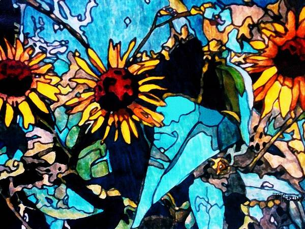 Sunflowers Poster featuring the painting Sunflowers Blue by Tom Herrin