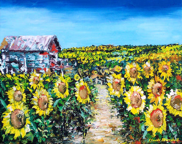Art Poster featuring the painting Sunflowers by Claude Marshall