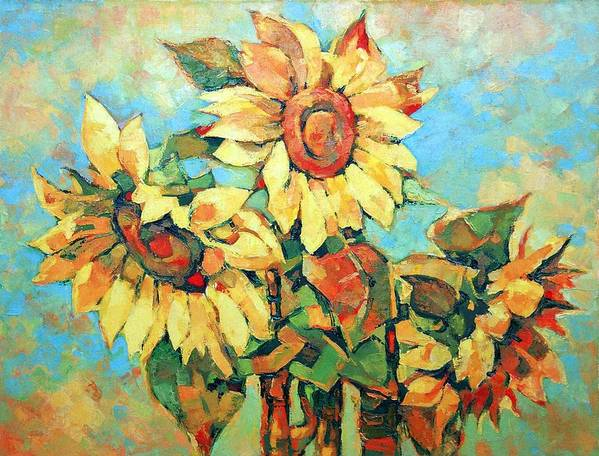 Sunflowers Poster featuring the painting Sunflowers by Iliyan Bozhanov