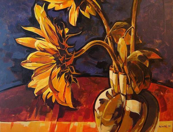 Canadian Poster featuring the painting Sunflowers In Italian Vase Take Two by Tim Heimdal