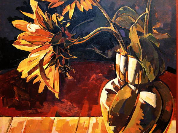 Canadian Poster featuring the painting Sunflowers In Italian Vase by Tim Heimdal