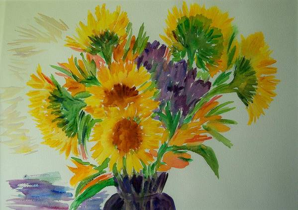 Flowers Poster featuring the painting Sunflowers by Liliana Andrei