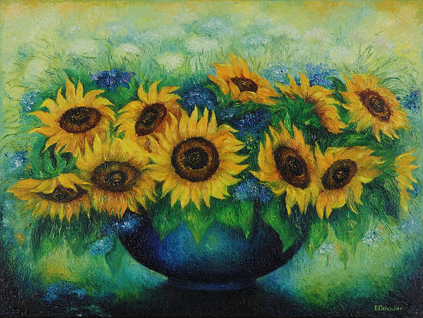 Flowers Poster featuring the painting Sunflowers No 1. by Evgenia Davidov