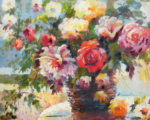 Still Life Poster featuring the painting Sunlight And Flowers by Imagine Art Works Studio