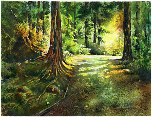 Landscape Poster featuring the painting Sunlight Trial Port Moody by Dumitru Barliga