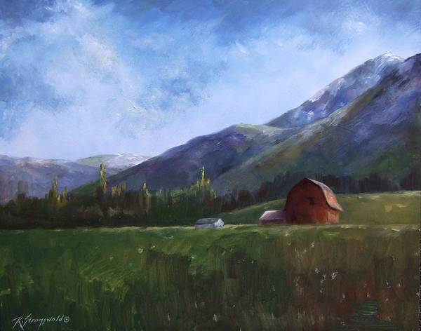 Barn Poster featuring the painting Sunlit Barn by Ruth Stromswold